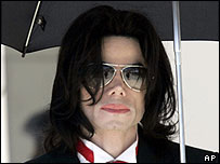 Michael Jackson arriving in court on 27 May