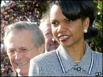 Donald Rumsfeld and Condoleezza Rice