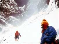 Sir Chris Bonington, right, on Everest in 1975