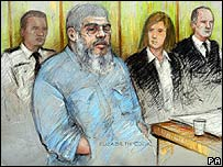 أبو حمزة (صورة رسمتها فنانة المحكمة إليزابيث كوك)