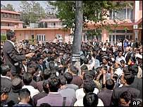 Sambhu Thapa (L), president of the Nepal Bar Association, addresses lawyers