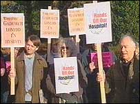 Protesters against hospital cuts