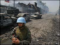UN peacekeeper in a street in Port-au-Prince, Haiti