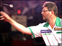 Martin Adams in action against Martin Atkins