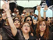 Protesting women in Cairo