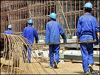 Workers building a new power station in China's Shaanxi province