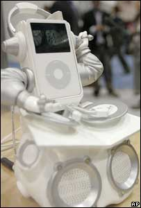 Apple iPod in music dock, AP