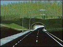 Computer impression of Hindhead tunnel