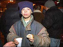 Nine-year-old Alexy, who lives rough on the streets of Moscow