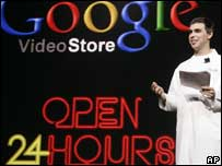 Google boss Larry Page unveils Google's video store, AP