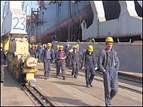 Polish shipyard workers