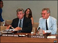 Former UN official Joseph Stephanides (left)