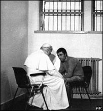 Pope John Paul II meets Mehmet Ali Agca in prison in January, 1983