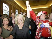 "Dutch Socialist Party supporters celebrate the ""No"" victory in Wednesday's vote"
