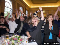 Members of the Socialist Party celebrate the result in Amsterdam 