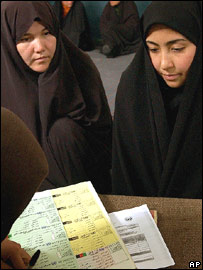 Afghan women getting registered for voting in Kabul