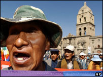 A Coca farmer protests in La Paz, Bolivia