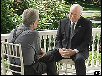 Vice President Dick Cheney talks with Larry King during the taping of the interview for 'Larry King Live' at the Naval Observatory in Washington Friday, May 27, 2005.