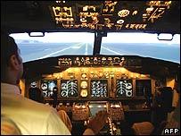 Cockpit of a Boeing plane