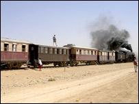 Steam train on the railway