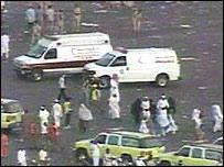Ambulances at stampede scene