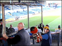 Work to remove fences at the Grange End, Ninian Park