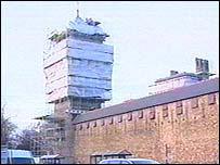 Scaffolding around Cardiff Castle clock