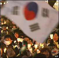 Candle rally in support of Hwang Woo-suk in Seoul, South Korea, AP