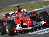 Michael Schumacher in his Ferrari