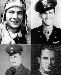 Clockwise from top left - co-pilot James Jackson, navigator Hulbert Robertson, pilot Robert Lawrence and engineer William Brown