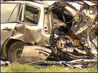 The remains of the vehicle in which the man was travelling