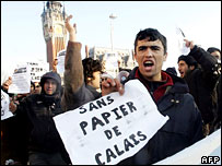 Illegal immigrants demonstrate in Calais, demanding a right to stay