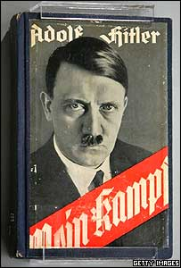 Adolf Hitler's Mein Kampf on display at the new Holocaust Museum in Yad Vashem, Israel