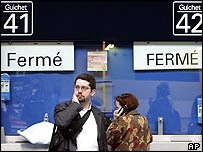 Stranded French commuters in Paris