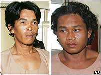 Wichai Somkhaoyai (left) and Bualoi Posit arrive in court on Friday
