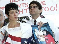 Cuban-Americans protest against the deportation of their relatives