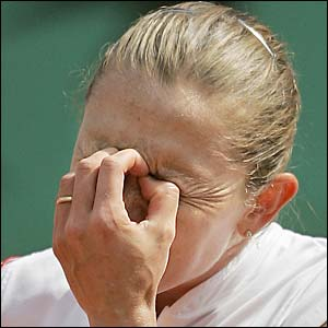 Elena Likhovtseva reacts to losing a point