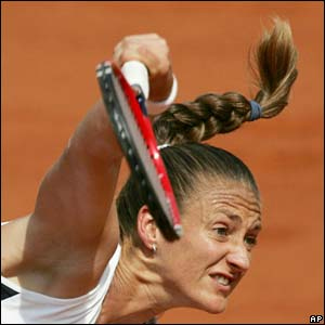 Mary Pierce hits a serve