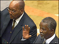 Jacob Zuma (l) and President Thabo Mbeki (r)