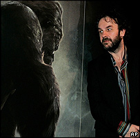 Peter Jackson beside King Kong poster