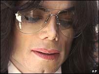 Michael Jackson arriving in court on Thursday