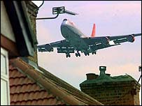 Plane flies over the house