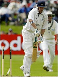 Phil Weston loses his middle stump