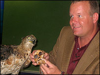 Prof Berger with a bird of prey