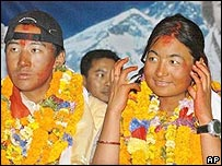 Mountaineers Moni Mulepati, right, and Pem Dorjee Sherpa