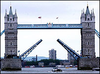 Tower Bridge with its arms open