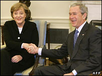 German Chancellor Angela Merkel and US President George W Bush