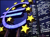 Euro zone symbol outside the European Central Bank headquarters