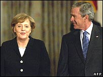 Angela Merkel and George Bush