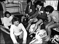 England preparing for the first official women's international against Scotland in 1972